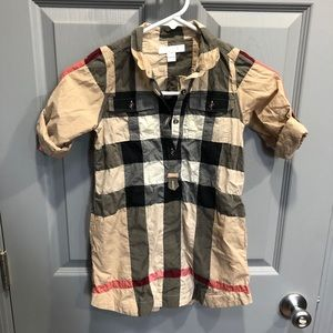 Burberry Girls Plaid Top - Size 7